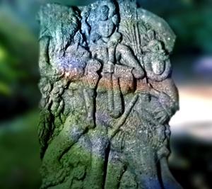 D'après le dieu Indra sur son éléphant, Airavata, relief sculpté, IIe siècle avjc, Inde ancienne. (Marsailly/Blogostelle)