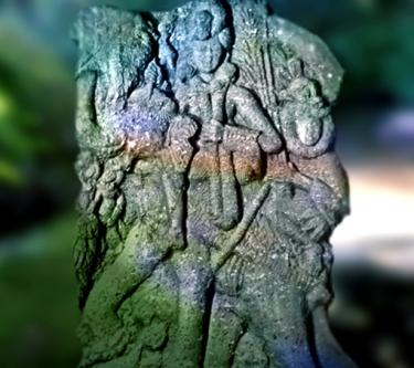 D'après le dieuIndra sur son éléphant, Airavata, relief sculpté, IIe siècle avjc, Inde ancienne. (Marsailly/Blogostelle)