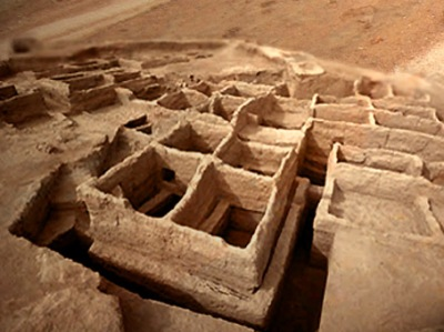 D'après une vue du site de Mehrgarh, vallée de l'Indus,Pakistan actuel,période Néolithique,Inde ancienne. (Marsailly/Blogostelle)