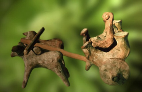 D'après un attelage façonné en terre cuite, Harappa, vers 2500-1800 avjc, civilisation de L'Indus. (Marsailly/Blogostelle.)
