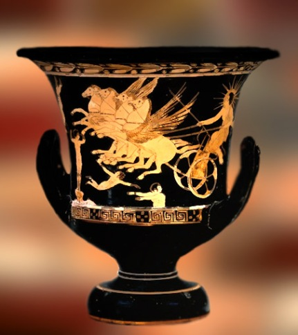 D'après la figure du dieu grec Hélios sur un cratère grec du Ve siècle avjc. (Marsailly/Blogostelle.)