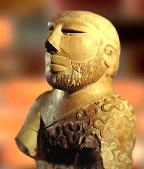 D'après un buste d'homme barbu, ronde bosse, stéatite cuite, Mohenjo-Daro, fin IIIe millénaire avjc, civilisation de l'Indus. (Marsailly/Blogostelle)