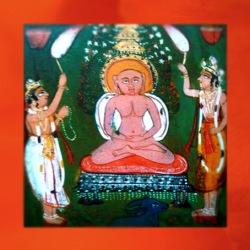 D'après l'image d'un Jina (Victorieux) illuminé, enluminure, courant spirituel jaïn, XVIIIe siècle apjc. (Marsailly/Blogostelle)