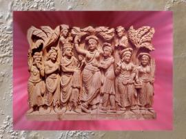 D'après un relief du Gandhara, la reine Maya, IIe siècle apjc, époque Kushâna. (Marsailly/Blogostelle)