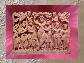 D'après la reine Maya, mère de Buddha, relief bouddhique du Gandhara, IIe siècle apjc, époque Kushâna, Inde ancienne. (Marsailly/Blogostelle)