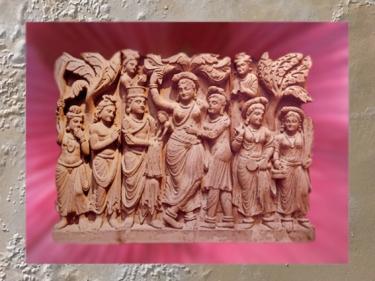 D'après la reine Maya,mère de Buddha, relief bouddhique du Gandhara,IIe siècle apjc, époque Kushâna, Inde ancienne. (Marsailly/Blogostelle)