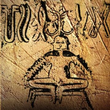 D'après le graphisme d'un sceau au Yogi sur un tabouret, 3 cm, entre 2300 et 1800 avjc, civilisation de l'Indus. (Marsailly/Blogostelle.)