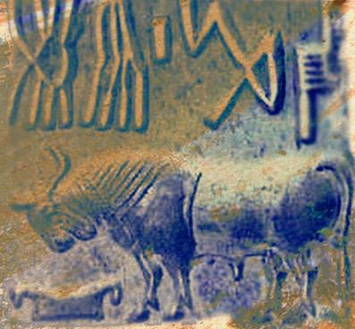 D'après un sceau orné d'un taureau, vers 2300 - 1800 avjc, civilisation de l'Indus. (Marsailly/Blogostelle)