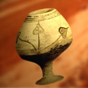 D'après un vase peint, motif pipal, vers 2500-2300 avjc, civilisation de l'Indus, Inde ancienne. (Marsailly/Blogostelle)