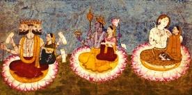 D'après un manuscrit du XVIIIe siècle, les trois couples divins sur des lotus, Inde ancienne. (Marsailly/Blogostelle.)