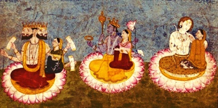 D'après les trois couples divins sur des lotus, divinités hindoues, sur un manuscrit du XVIIIe siècle, Inde ancienne. (Marsailly/Blogostelle)