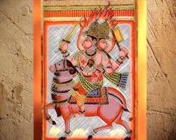D'après une miniature du XVIIIe siècle, le dieu védique du Feu Agni, art de l'Inde. (Marsailly/Blogostelle.)