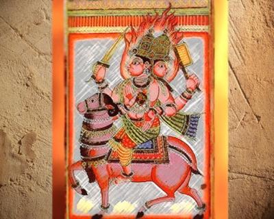 D'après le dieu védique du Feu Agni,miniature du XVIIIe siècle, art de l'Inde. (Marsailly/Blogostelle)