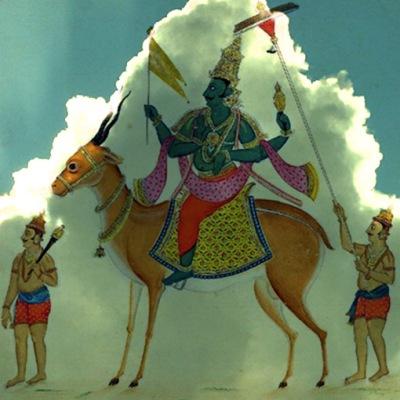 D'aprèsVâyu, dieu du Vent,sur une peinture du début du XIXe siècle, Inde ancienne. (Marsailly/Blogostelle)