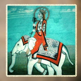 D'après une représentation d'Indra, vainqueur du dragon-serpent primordial, manuscrit du XVIIIe siècle, Inde ancienne. (Marsailly/Blogostelle)