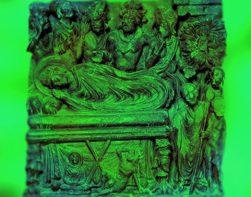 D'après une sculpture qui évoque l'Extinction de Buddha et son entrée dans le Nirvâna, IIe siècle-IIIe siècle apjc. (Marsailly/Blogostelle.)