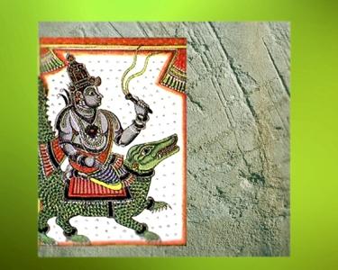 D'après le dieu védique Varuna, maître de la magie divine et ami du dieu de l'Orage Indra, art de l'Inde. (Marsailly/Blogostelle)