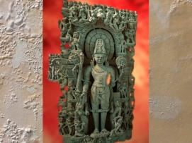 D'après une sculpture de Vishnu, dieu salvateur, dynastie Chandela, fin Xe siècle apjc-début XIe siècle apjc, Inde. (Marsailly/Blogostelle.)