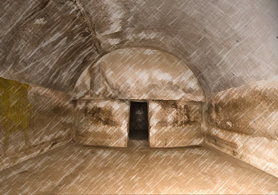 D'après la caverne voûtée la Sudama, art Maurya, mont Barâbar, Inde du Nord. (Marsailly/Blogostelle)