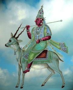 D'après une peinture du début du XIXe siècle, Vâyu, divinité du Vent en Inde, dieu du Souffle et de l'Âme cosmique, et gardien du Nord-Ouest. (Illustration Marsailly/Blogostelle.)