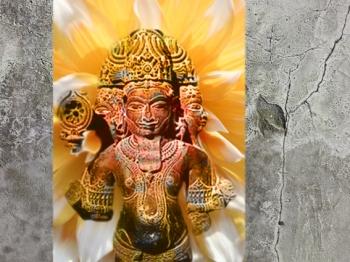D'après le thème Brâhma - Prajâpati, axe cosmique et Pilier de l'Univers,Inde ancienne. (Marsailly/Blogostelle)