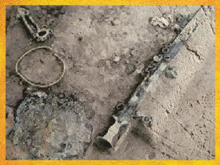 D'après le mobilier funéraire de la tombe celte de Saint-Romain-de-Jalionas, IXe- VIIIe siècle avjc, Rhône-Alpes, France, premier âge du Fer.(Marsailly/Blogostelle)