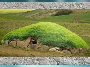D'après un tumulus funéraire, tertre de pierre et de terre, art Celte, période de Hallstatt, premier âge du Fer. (Marsailly/Blogostelle)