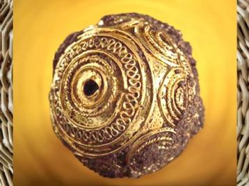 D'après une perle de pendentif, or filigrané, tombe de la Dame de Heuneburg, Allemagne, VIe siècle avjc, art celte, premier âge du Fer. (Marsailly/Blogostelle)
