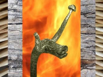 D'après un chenet en fer forgé, animal à cornes, art Celte, âge du Fer. (Marsailly/Blogostelle)