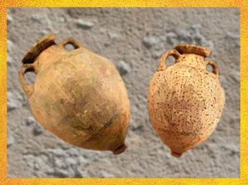 D'après des amphores de Massilia, céramique, Ve siècle avjc, Sud de la France, époque de l'âge du Fer. (Marsailly/Blogostelle)