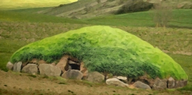 D'après l'image d'un tumulus, monument funéraire de l'Âge du Fer. (Marsailly/Blogostelle.)