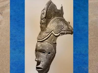 D'après le masque esprit d'une jeune défunte, motifs de spirales, Igbo Agbogho Mmuo, Nigéria, XIXe-XXe siècle. (Marsailly/Blogostelle)