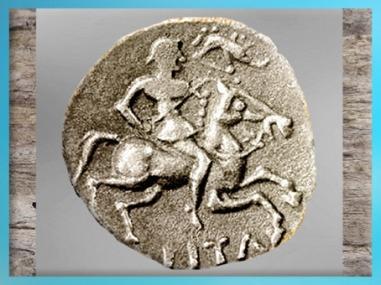 D'après un cavalier gaulois et enseigne sanglier, statère des Eduens, Ier siècle avjc, Bourgogne, La Tène, Gaule celtique. (Marsailly/Blogostelle)