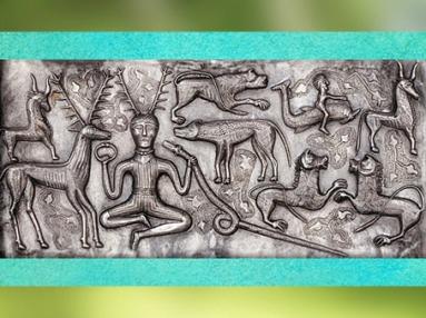 D'après le dieu Cerf, torque, serpent et animaux, chaudron de Gundestrup, or et argent, Ier siècle avjc, Danemark, art celte, âge du Fer. (Marsailly/Blogostelle)