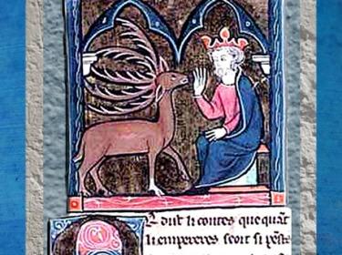D'après Merlin changé en Cerf, face à un roi, anonyme, cycle Lancelot Graal XIIIe siècle apjc, période médiévale. (Marsailly/Blogostelle)