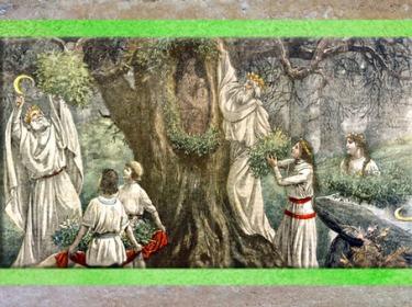 'après les druides qui cueillent le gui au Nouvel An, illustration du journal Le Pélerin, 1922. (Marsailly/Blogostelle)