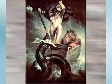 D'après La bataille de Thôrr contre le serpent de Midgard, Johann Heinrich Füssli, fin XVIIIe siècle, mythologie nordique. (Marsailly/Blogostelle)