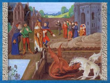 D'après le combat des deux dragons révélé par Merlin au roi Vortigern, manuscrit de l'Historia Regum Britanniae XVe siècle, période médiévale. (Marsailly/Blogostelle)