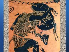 D'après Héraclès et le sanglier d'Érymanthe, céramique à figures noires, 520-510 avjc, avjc, Athènes, Grèce antique. (Marsailly/Blogostelle)
