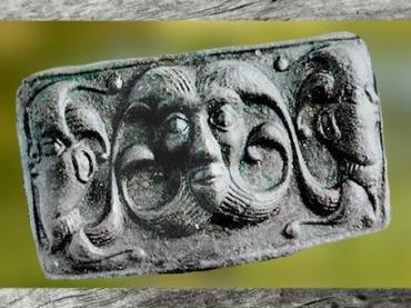 D'après un élément de char, bronze moulé, style plastique, vers 300-250 avjc, tombe d'Orval, Manche, La Tène, Gaule celtique, âge du Fer. (Marsailly/Blogostelle)