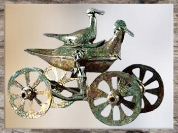 D'après un char votif à palmipèdes du premier âge du Fer, période de Hallstatt, Sarajevo, Bosnie, art Celte. (Marsailly/Blogostelle)
