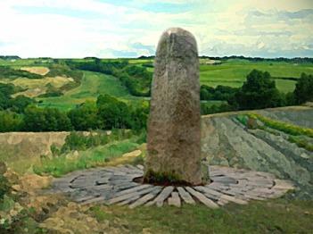 D'après une vue de la colline de Tara et la mythique Pierre de Fal,mythologie Irlandaise. (Marsailly/Blogostelle)