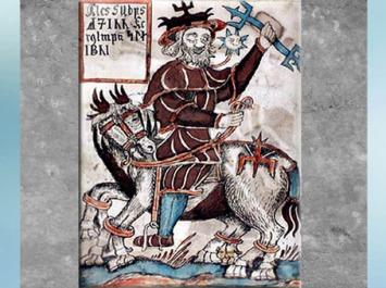 D'après le dieu Odhin armé d'un trident sur son cheval Sleipnir, manuscrit islandais du XVIIIe, mythologie nordique. (Marsailly/Blogostelle)