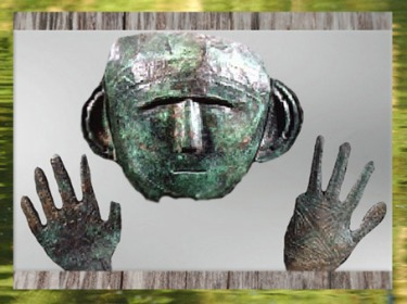 D'après un masque et des mains, bronze, période de Hallstatt, premier âge du Fer, art celte. (Marsailly/Blogostelle)