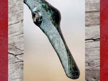 D'après une tête de palmipède, détail d'un casque gaulois, fosse du sanctuaire celte de Tintignac, Limousin, La Tène, Gaule celtique, âge du Fer. (Marsailly/Blogostelle)