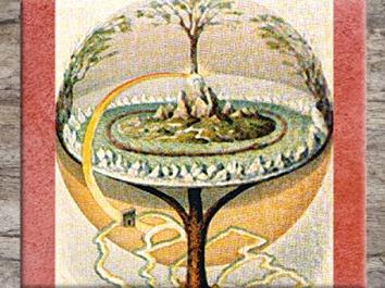 D'après l'Arbre Sacré Yggdrasil, par Oluf Bagge, graveur danois, XIXe siècle, mythologie nordique. (Marsailly/Blogostelle)