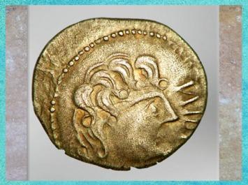 D'après un portrait, statère des Suessions, région de Soissons, Picardie, Ier siècle avjc, Gaule celtique. (Marsailly/Blogostelle)