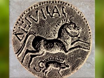 D'après un sanglier et cheval, statère de Diviciacus, roi des Suessions, Ier siècle avjc, Soissons, Gaule celtique. (Marsailly/Blogostelle)