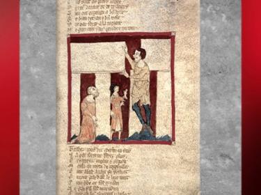 D'après un récit légendaire, Merlin, aidé par un géant, élévation de Stonehenge, manuscrit du Roman de Brut, Wace, XIIe siècle, art médiéval. (Marsailly/Blogostelle)