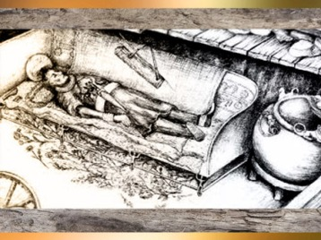 D'après la tombe du prince celte de Hochdorf, VIe siècle avjc, civilisation de Hallstatt, premier âge du Fer. (Marsailly/Blogostelle)